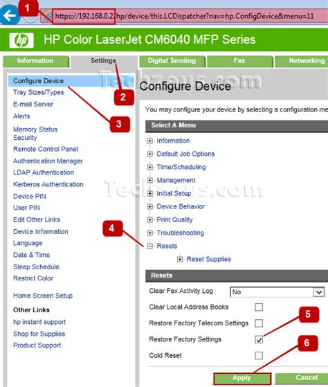 hp laserjet 1020 reset factory settings how to restore factory settings on hp laserjet cm6040 mfp