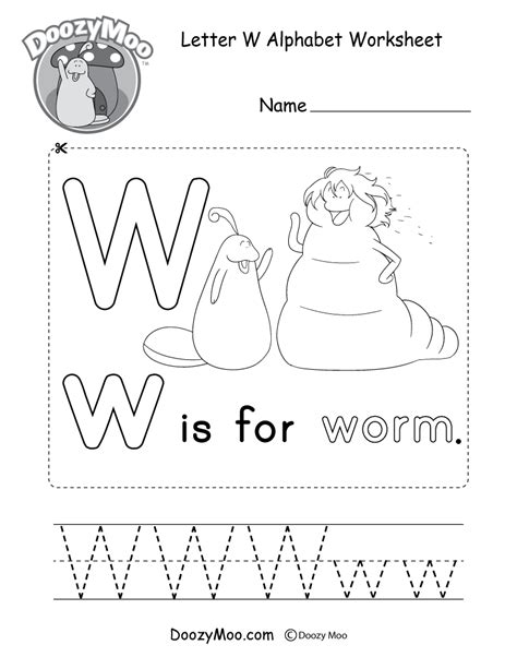 W Is For Worm Coloring Page by Uppercase Letter W Coloring Page Free Printable