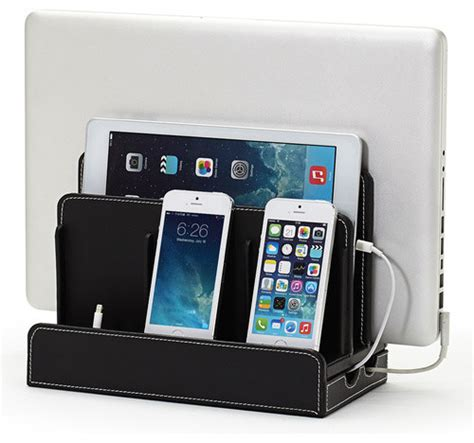 smartphone charging station transitional desk faux leather multi charging station black transitional