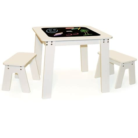 p kolino chalk table and benches chalk table bench set white by p kolino rosenberryrooms com