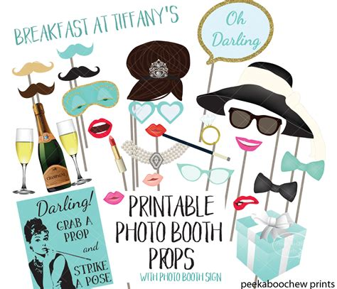 breakfast at tiffany s party photo booth prop by hummingb8rd breakfast at tiffany s photo booth props audrey hepburn