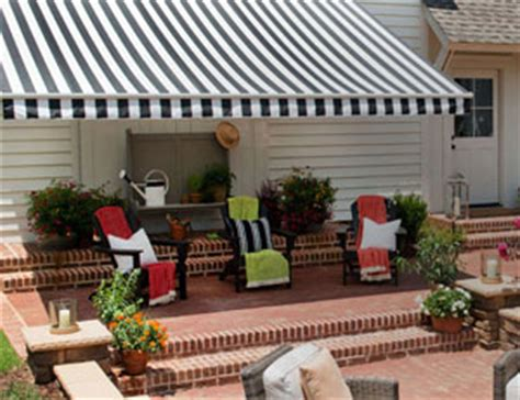Black And White Striped Awning by Signature Sunbrella 174 Striped Awnings In Black And White