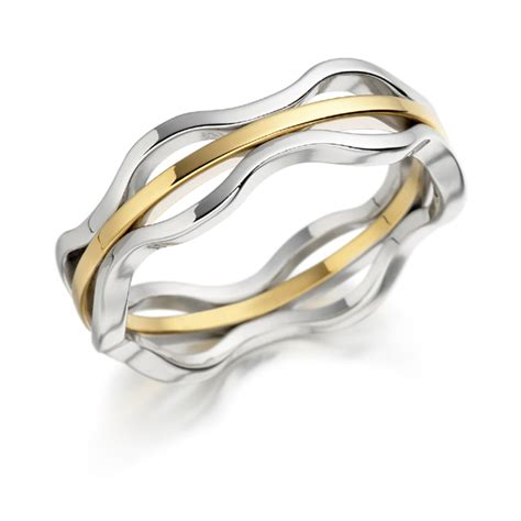 Wedding Ring Wave Design by 18ct White And Yellow Gold Single Wave Design Wedding