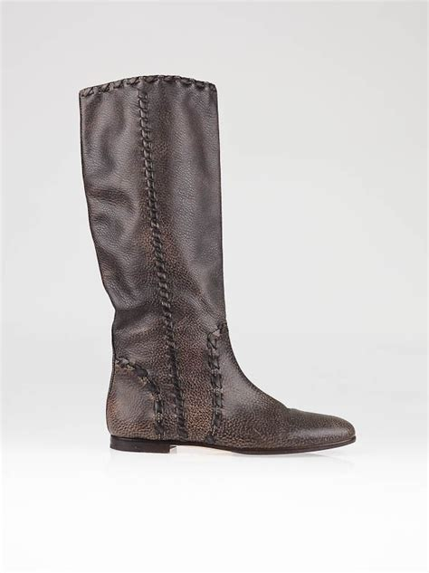 gucci brown leather janis flat boots size 8 38 5 yoogi s