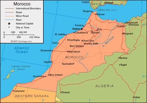 physical map of morocco morocco map and satellite image