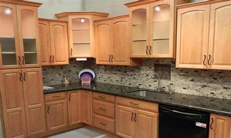 Modern kitchen burl maple, glass backsplash maple cabinets