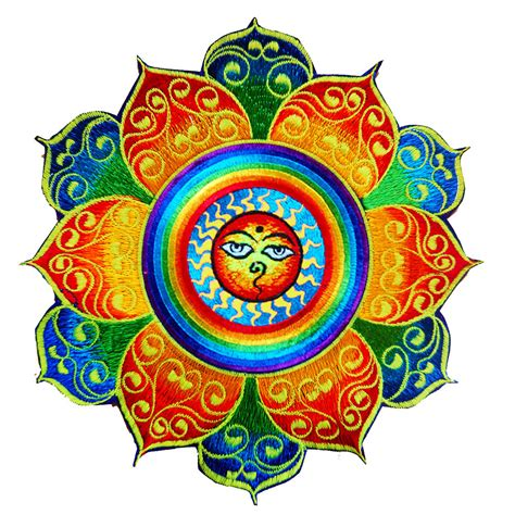 Design Your Own Wall Sticker rainbow sun with buddha eyes colourful mandala patch buddhist