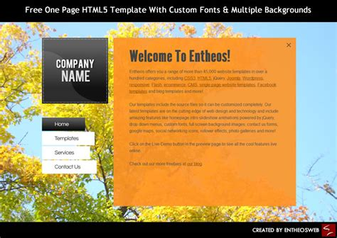 page html template  custom fonts multiple backgrounds entheosweb