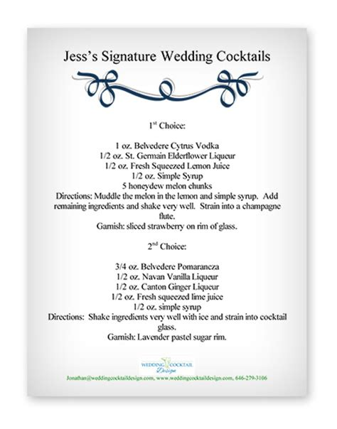 cocktail menu exles wedding cocktail design custom
