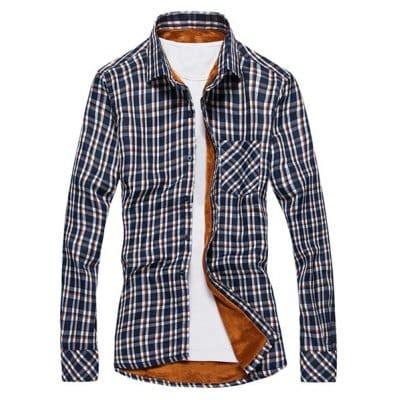 Crnvl Gb Plaid Sleeve Shirt blue stylish shirt collar slimming plaid design one pocket