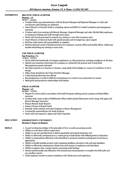 field resume templates field auditor resume sles velvet