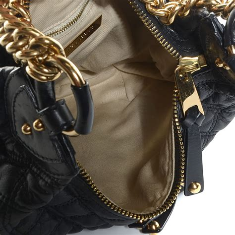 Marc Melinda Chain Hobo by Marc Leather Quilted Banana Chain Hobo Black 99485