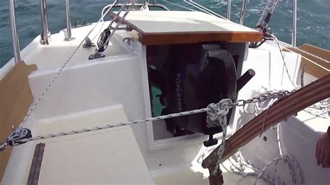 sailboats with outboard well outboard motor well demonstration youtube