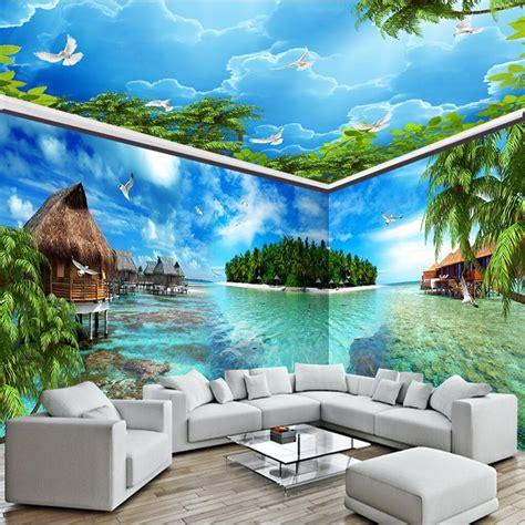 Custom 3d Photo Wallpaper Seascape Palm Wall Covering Mural Roll beibehang sea landscape island house backdrop 3d custom photo wallpaper wall covering