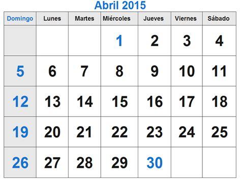 Calendario De Abril 2015 Calendario Abril 2015 El Calendario Abril 2015 Para