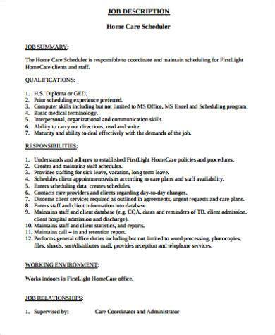 scheduler description sle 11 exles in word pdf