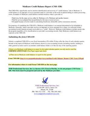 Medicare Credit Balance Form fillable medicare credit balance report cms 838 submitting the form fax email