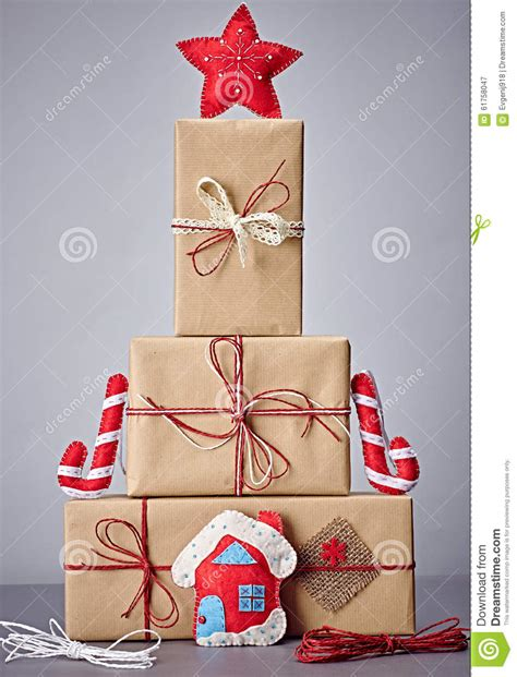 christmas tree decorations gift boxes gift boxes handcraft stack decorations stock image image 61758047
