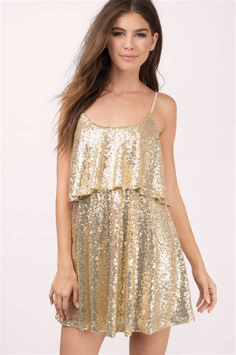 Dress With Sequin gold dress sequin dress gold glitter top skater