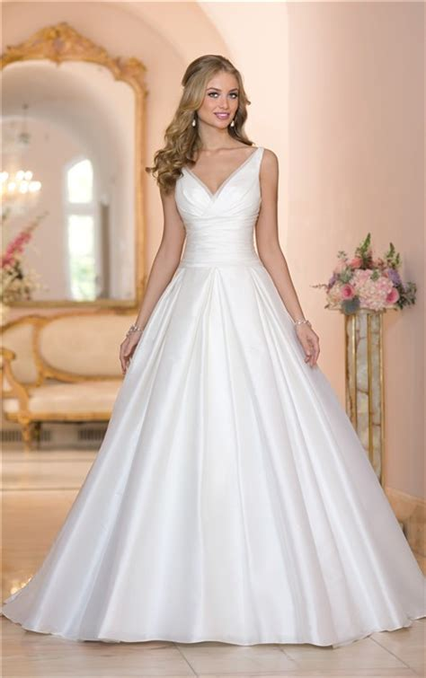 simple ball gown  neck   ruched taffeta wedding dress  buttons