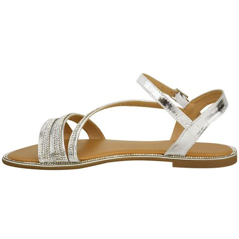 Summer Sandals In womens flat diamante summer sandals strappy