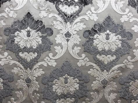 Damask Dining Room Chairs by Parisian Cut Velvet Graphite Smoke Silver And Grey Damask