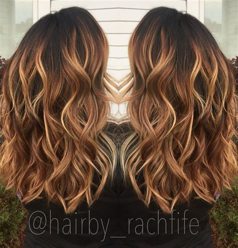 caramel color warm caramel copper balayage stretched root fall