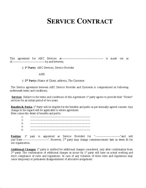 7 contract for services template timeline template