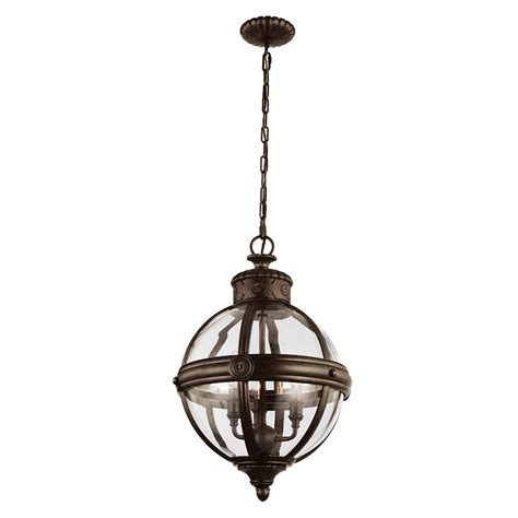 3 light pendant in a bronze finish with a clear