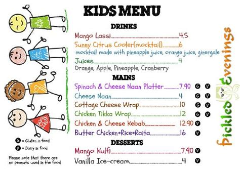 kids menu picture of pickled evenings indian restaurant