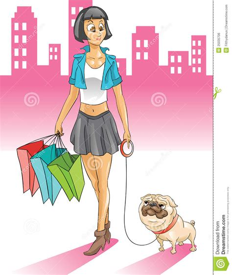 pug shopping with pug shopping in the city royalty free stock image image 25035706