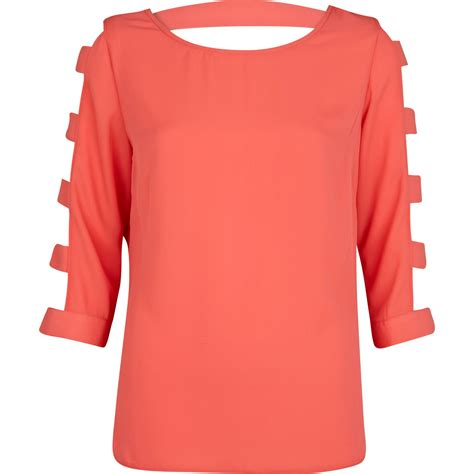 lyst river island coral cut out sleeve top in pink