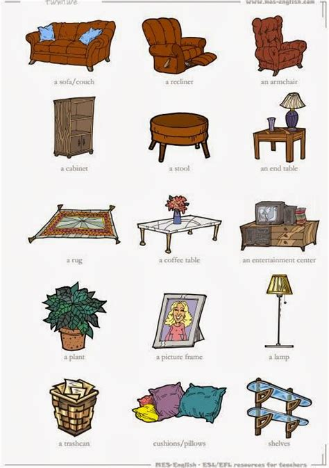 Things You Find In A Living Room In Tuttoprof Inglese 15 Living Room Objects Flashcard