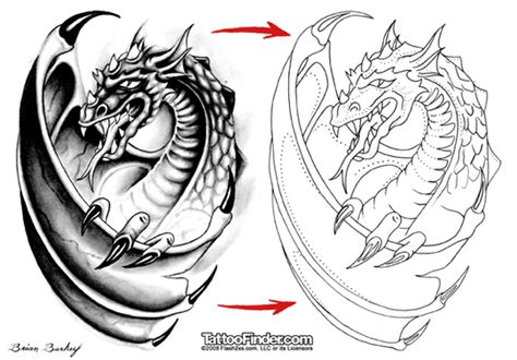 free dragon tattoo designs to print free flash outlines stencil