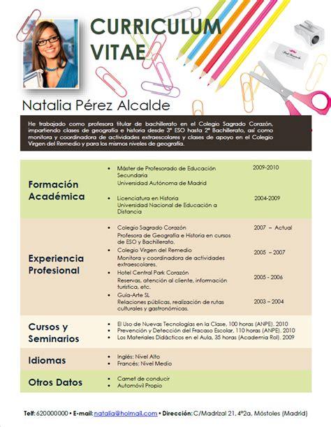 Modelo Curriculum Vitae De Un Profesor Elaboraci 243 N Curriculum De Profesores Plantillas De Cv Para Enviar A Colegios Privados