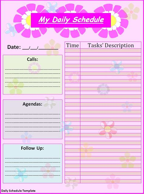 daily schedule template free formats excel word