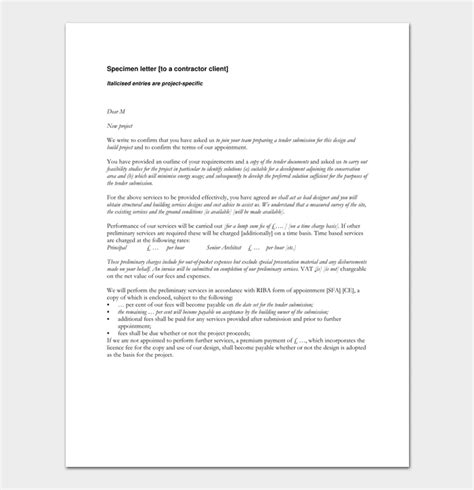 principal contractor appointment letter template contractor appointment letter 9 formats sle letters