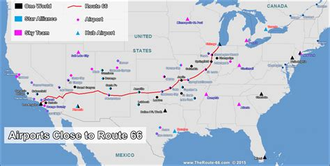 map of usa route 66 flights