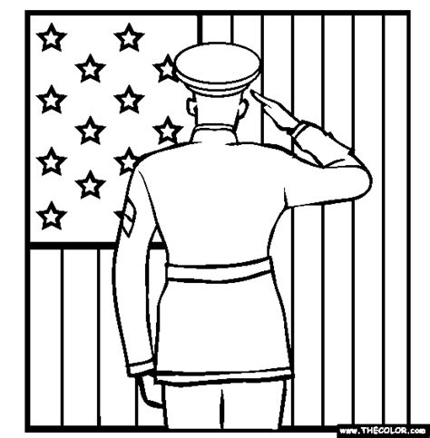 soldier saluting the flag online coloring page