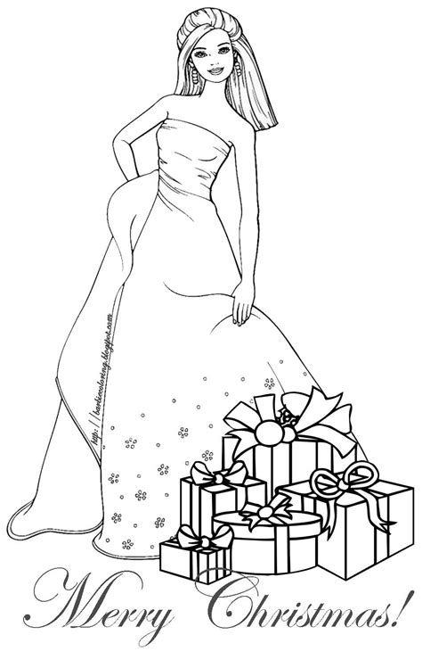 barbie coloring pages barbie christmas coloring page