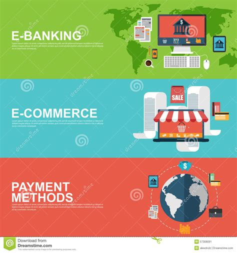 d commerce bank ad flat design concepts for e commerce e banking and payment