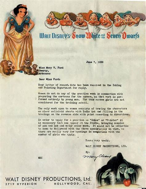 Rejection Letter Korean Disney Rejection Letter From 1938 Tells Candidate Are Not Considered Huffpost