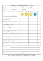 english worksheet self evaluation