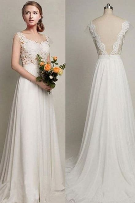 sweep train straps simple lace bride dress  summer
