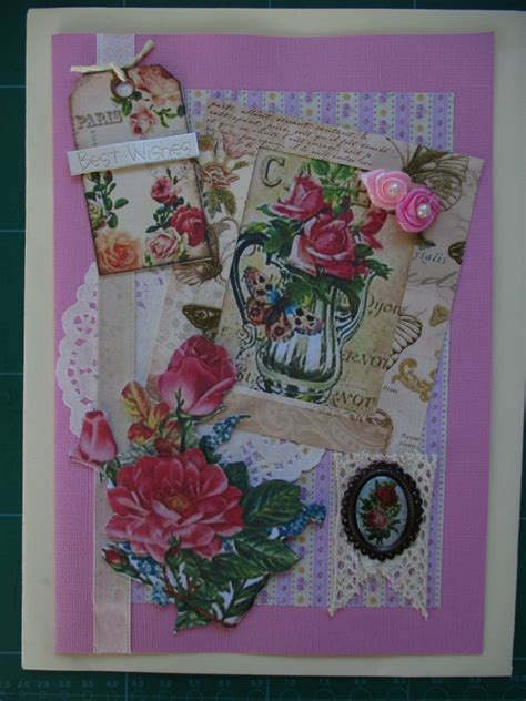 Handmade Vintage Cards - handmade vintage floral birthday cards felt
