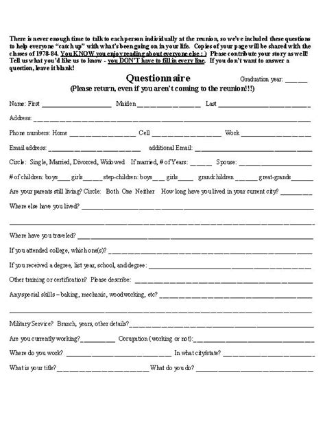 High School Reunion Questionnaire Posted By Lisa Dragoo At 7 45 Pm School Reunion Class Reunion Registration Form Template