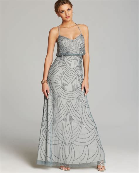 grey beaded gown papell gown beaded blouson in gray slate lyst