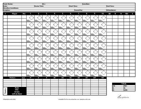Baseball Scorecard Excel Template by 8 Printable Baseball Scorecard Templates Excel Templates