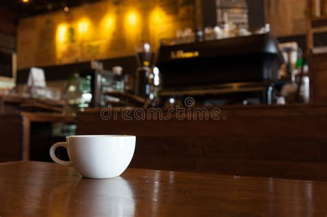 Cups Coffee Shop Bandung white cup of coffee on wooden bar in coffee shop blur background stock image image of business