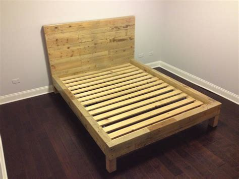 wood pallet bed frame with lights light brown wooden bed frame with high head board also